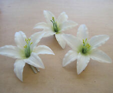 "Three 3.5 "" Cream White Lily Silk Flower Hair Clips Lot, Wedding, Prom, Dance"