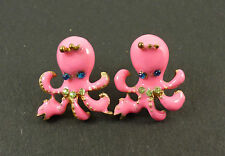 Quirky Kitsch Pink Octopus Nautical Animal Jewellery Earrings