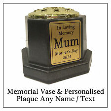 Memorial Vase & Gold Grave Pot with Personalised Plaque & Any Text or Name
