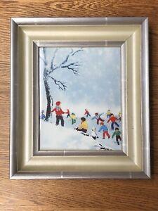 MAX KARP enamel painting / art. Signed. Winter Scene, Children & Snow
