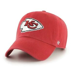 """Kansas City Chiefs '47 Brand Mens Red Clean Up Adjustable """"Dad"""" Hat Mahomes Hill"""