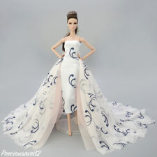New Barbie doll clothes outfit wedding dress cream brown patterned evening gown