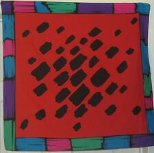 """TERRIART Red, Black, Multi Abstract Border 29"""" Square Scarf-Vintage"""