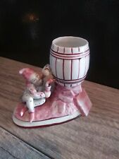Vintage Gnome Pixie Elf Dwarf L&M Porcelain Figurine toothpick holder with keg .