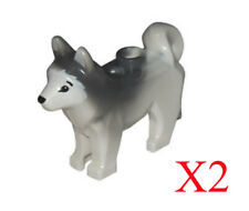 Lego White Husky Dog with Marbled Gray Ears and Back Animal Minifigure Lot Of 2