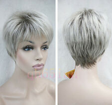 Fashion Charm women ladies short mix grey Natural Hair Full wigs / wig