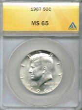 1967 Philadelphia 50C Uncirculated Kennedy Half Dollar ANACS MS65