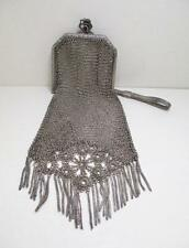 Delicate Antique 925 Sterling Silver Mesh Chain Purse Clutch Evening Bag~Germany