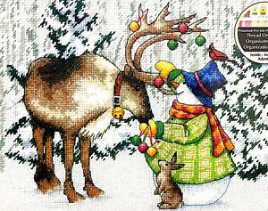 """DIMENSIONS """"Ornamental Reindeer"""" Christmas Snowman Counted Cross Stitch Kit"""