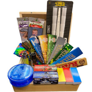 Smoking Gift Set, Wooden Box, Raw,Rizla,Hornet,Tips,grinder, Cones And Many More