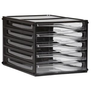 NEW Esselte Desktop Filing 5 Drawers A4 Black Frame Trays Pigeon Files