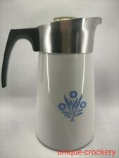More details for vintage corning ware 10 cup stove top coffee pot, blue cornflower p-149