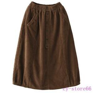 Womens Winter Elastic Waist Cotton Corduroy Skirts Long Warm Lantern Dress Ladys