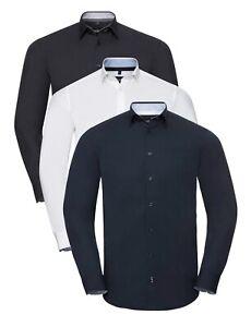 Pour Hommes Manches Longues Coton Mélange Ajusté Facile Soin Contraste Stretch