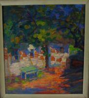 "Fritz Wimmer ""Sonnenbeschienenes Haus hinter Bäumen"" Öl, signiert"