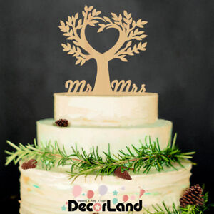 Wooden Rustic Wedding Cake Topper Life Tree Wedding Engagement Party Decoration