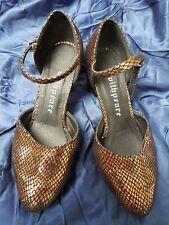 "UK3 Euro 36 Latin Salsa Ballroom Copper Suede Leather Dance Shoes 2.5"" Heels"