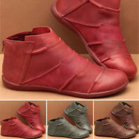 Womens Flat Leather Retro Arch Support Ankle Boot Round Toe Shoe Casual Boots