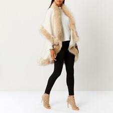 Fur trim Cape Luxurious Double Layered Wrap Cream One Size New outwear Ex-Coast