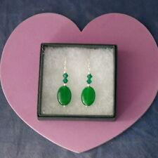 Beautiful Earrings With  Emerald Gemstone 4 Cm.Long + 925 Silver Hooks In Box