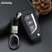 Carbon Fiber Remote Car Key Case Cover Fobs For Toyota Camry RAV4 Flip Key Chain