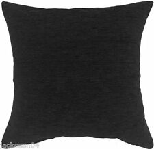 "2 X PLAIN CHENILLE JET BLACK CUSHION COVERS 18"" - 45cm"