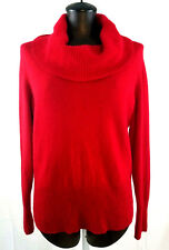 APT 9 100% Cashmere Cowl Neck Sweater Red Womens XL Wide Rib Knit Pullover