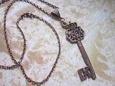Key necklace Antique copper tone Charm Pendant Steampunk Vintage fancy gift/