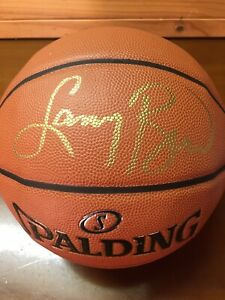 Larry Bird Signed Boston Celtics Basketball In Photo Case Bird Hologram