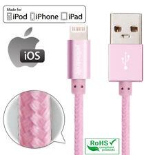 Apple Certified Pink Nylon Heavy Duty Lightning USB Cable iPhone IPad IPod Girls