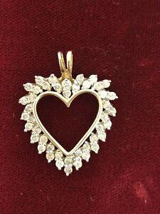 Vtg 14K Yellow Gold and Diamond Heart Pendant on Chain
