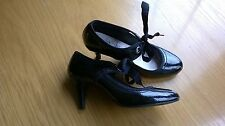 M&S black patent ribbon laced court shoes heels size 5 wider fit [3754]