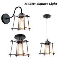 Modern Metal Cage Industrial Square Wire Frame Pendant Light Loft Ceiling Lamp