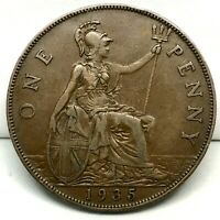 1935, GREAT BRITAIN, GEORGE V - ONE PENNY, BRONZE  COIN  - KM# 838