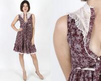 Vintage 70s Gunne Sax Burgundy White Calico Floral Lace Boho Prairie Mini Dress