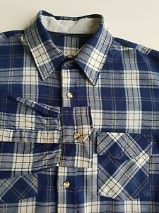 Long Sleeve mens Plaid Acrylic Flannel Shirt Blue Check Grunge *XL* TR74