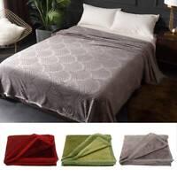 200x220cm Flannel Warm Solid Micro Plush Fleece Blanket Throw Rug Sofa Bedding