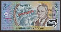 SAMOA Specimen Polymer 2 Tala Banknote Prefix AAJ UNC  P.31eS
