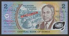 Samoa spécimen polymère 2 TALA billets de banque Etat REFROIDISSEMENT UNC P.