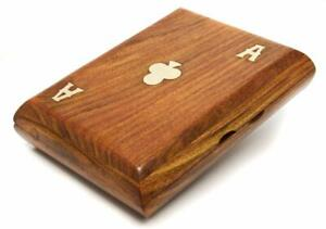 Personalised Playing Card Curved Wooden Box with 2 Decks Of Cards, Engraved