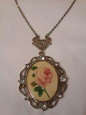 Oval Rose Pendant Rhinestone Pendant Necklace