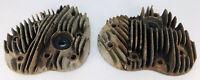 VTG HARLEY DAVIDSON FLATHEAD 8 BOLT CAST CYLINDER HEADS FRONT REAR C•9 7/16 45