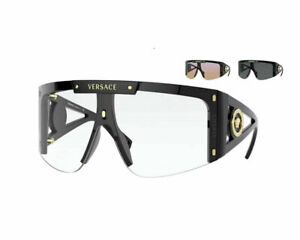 NEW Versace VE4393 GB1/1W Black/Clear 2 Extra Interchangeable Lens Sunglasses
