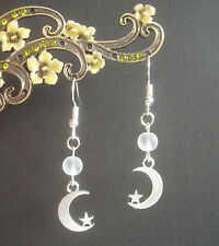 Crescent Moon and Star Charm Frosted Bead Dangly Earrings