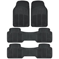 All Weather Rubber Car Floor Mats 3 Row Coverage for Honda Pilot - Black