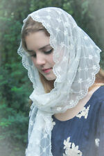 Evintage Veils~ Lovely Ivory  Victorian Lace Chapel Veil Mantilla Scarf Wrap