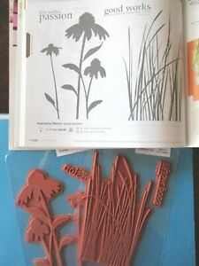 Stampin' Up INSPIRED BY NATURE Lg Unmounted 2010 FLOWERS & GRASS Silhouettes 2pc