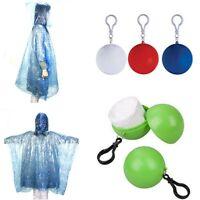 Hooded Travel Emergency Raincoat Poncho Rainwear Rain Jacket W/ Keyring Ball New
