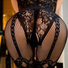 Strappy Lace Fishnet Black Open Crotch Lace-up Full Body Stocking Lingerie