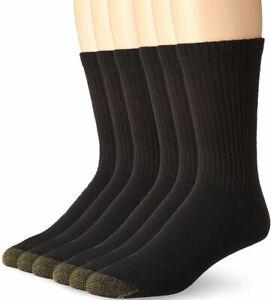 $94 Gold Toe Men's Black Cushioned Athletic Sport Crew Socks 6-Pack Shoe 6-12
